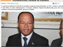 Edgard Razafindravahy désigné candidat du TGV, parti d'Andry Rajoelina à la présidentielle de juillet 2013, et maire d'Antananarivo. www.africanaute.com