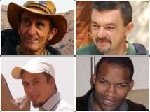 Les otages français au Sahel : Daniel Larribe (haut gauche), Marc Féret (haut droite), Pierre Legrand (bas gauche), Thierry Dole (bas droite). DR