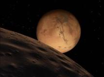 La planète Mars vue de la Lune. Getty Images/Stocktrek Images