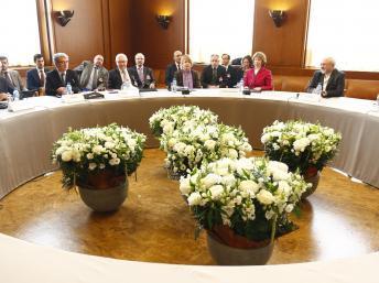 Ouverture à Genève des négociations sur le nucléaire iranien avec le ministre iranien des Affaires étrangères Mohammad Javad Zarif, Catherine Ashton, chef de la diplomatie européenne et Wendy Sherman, secrétaire d'Etat adjointe américaine. REUTERS/Denis Balibouse