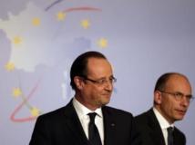 Le Premier ministre italien, Enrico Letta, et le président français, François Hollande, ont affiché leur proximité à Rome, le 20 novembre 2013. REUTERS/Max Rossi