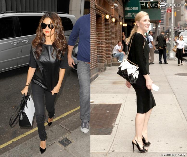 Selena Gomez vs Cate Blanchett : Qui porte le mieux le sac bicolore graphique ?