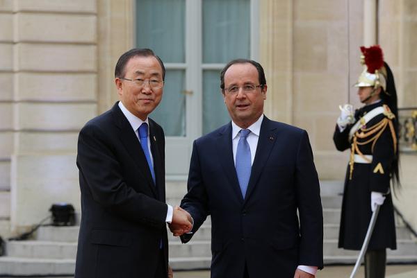 Le président français et le secrétaire général de l'ONU Ban Ki-Moon. Francediplomatie