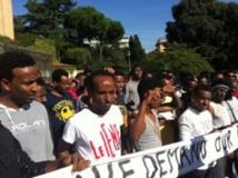 Manifestation de réfugiés érythréens en Israël. © Mathilde Auvillain