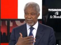Kofi Annan, ancien secrétaire général de l'ONU, sur le plateau de l'émission Internationales. DR