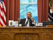 """Dans le bureau ovale de la Maison Blanche, Obama s'entretient avec Hassan Rohani, Washington, le 27 septembre 2013. """"AFP PHOTO / THE WHITE HOUSE / Pete SOUZA"""""""