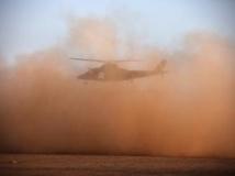Un hélicoptère d'évacuation sanitaire belge de l'opération Serval. Gao, le 26 février 2013. REUTERS/Joe Penney