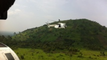 Des hélicoptères de la Monusco, dans l'est de la RDC, en octobre 2013. RFI/Leéa Lisa Westerhoff