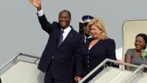 Le président ivoirien est rentré à Abidjan, après une convalescence en France, le 2 mars 2014. AFP PHOTO / ISSOUF SANOGO