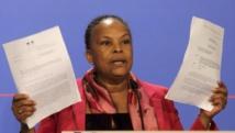 Christiane Taubira, lors de la conférence de presse du 12 mars 2014.