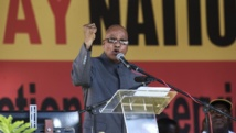 Le président sud-africain Jacob Zuma délivre son discours au stade Peter-Mokaba à Polokwane, le 1er mai 2014. AFP PHOTO/GIANLUIGI GUERCIA