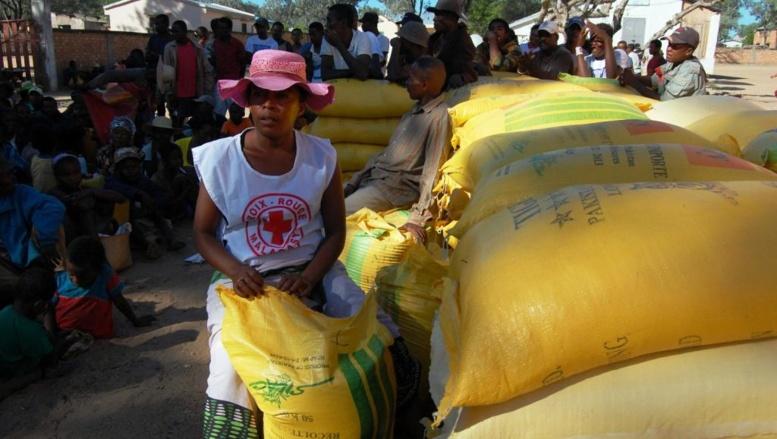 Des bénévoles de la Croix-Rouge malgache distribuent des vivres aux habitants d'Andranodambo, le 2 juin 2014.