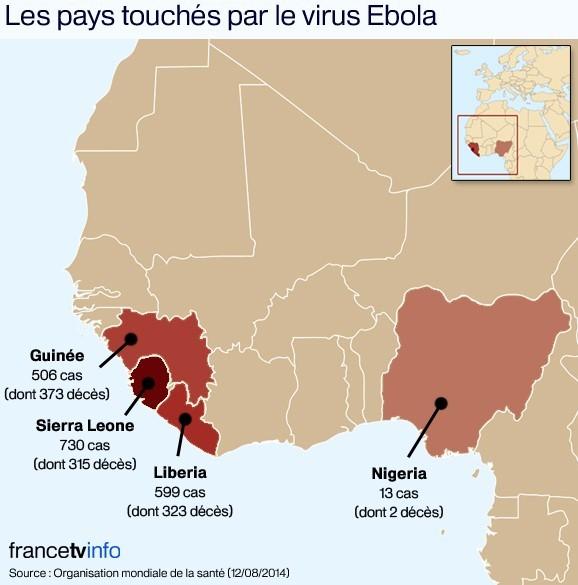 Ebola : la carte de l'épidémie