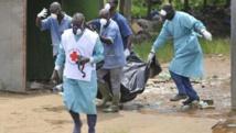 Les membres de la Croix-Rouge en Côte d'Ivoire ramassent les cadavres lors d'une opération à l'ouest d'Abidjan, le 4 mai 2011.