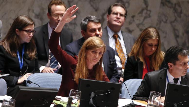 L'ambassadrice américaine à l'ONU Samantha Power lors d'une réunion du Conseil de sécurité de l'ONU sur Ebola, le 18 septembre 2014.