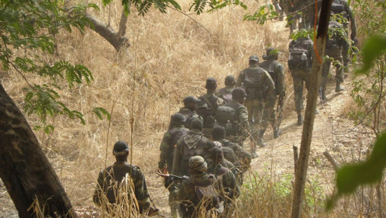 Une colonne de soldats camerounais. RFI/Sarah Sakho