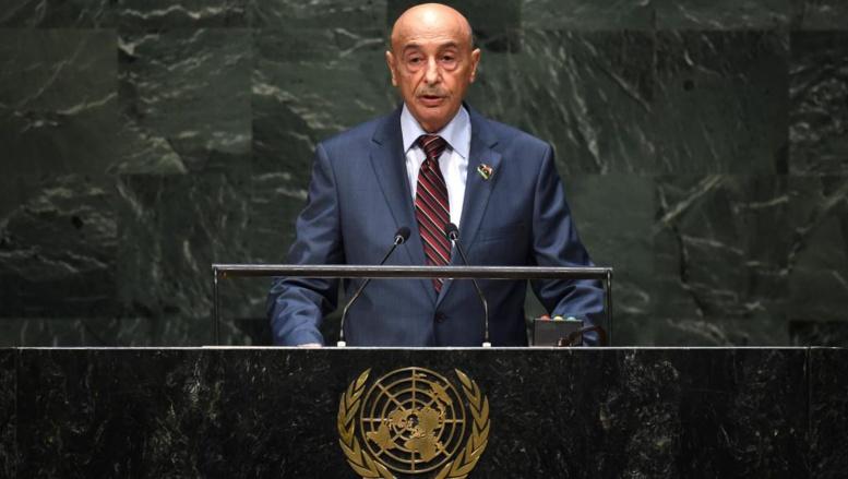 Agila Saleh Essa Gwaider, président de la Chambre des représentants de Libye, le 27 septembre à la 69e session de l'Assemblée générale de l'ONU à New York. AFP PHOTO / Timothy A. CLARY