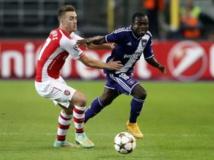 Face à Arsenal, le Gabonais Franck Acheampong a beaucoup tenté avec Anderlecht. En vain puisque les Anglais s'imposent 2-1. REUTERS