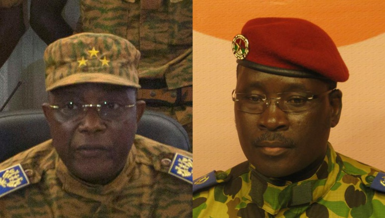 Le général Honoré Traoré (g.) et le lieutenant-colonel Isaac Zida (d.) REUTERS/Joe Penney et RFI