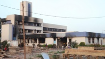 La mairie de Bobo Dioulasso (Burkina Faso), le 31 octobre 2014, après son incendie par des manifestants. AFP PHOTO