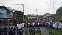 La manifestation de l'opposition gabonaise lors de laquelle au moins une personne a trouvé la mort, le 20 décembre 2014.