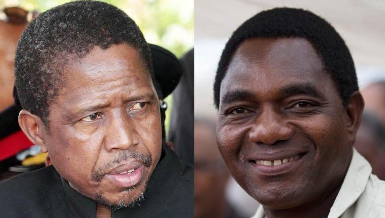 Les deux candidats à la présidence de la Zambie: le ministre de la Défense, Edgar Lungu (gauche) et le candidat de l'UPND, Hakainde Hichilema (droite).
