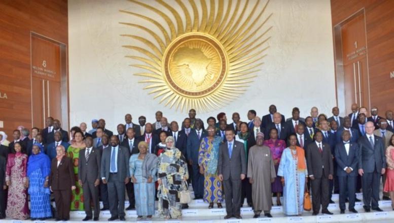 Photo de famille, lors de l'ouverture de la session ordinaire du conseil des ministres de l'Union africaine, le 26 janvier 2015, à Addis-Abeba