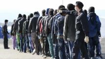 Des migrants sont regroupés par les autorités italiennes après avoir débarqué dans le port d'Augusta, en Sicile, le 17 janvier 2015.