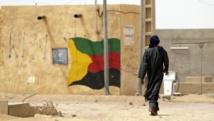 Un drapeau du MNLA, dans les rues de Kidal, en 2013. AFP PHOTO / KENZO TRIBOUILLARD