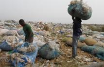 """La collecte des objets plastiques à la décharge d'Akouédo, au Nord-est d'Abidjan, """"un business"""" pour des fouilleurs"""
