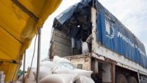 Un camion du PAM sur le site de la mission de l'ONU au Soudan du Sud, en juin 2014. AFP PHOTO / CHARLES LOMODONG