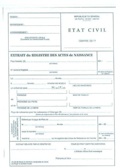 La problématique de l'acte de naissance au Sénégal