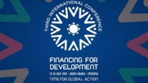La bannière de la troisième conférence internationale sur le financement du développement qui se tient à Addis Abeba à partir du 13 juillet 2015. ONU / FFD3