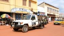 Des soldats de la Minusca patrouillent à Bangui. AFP PHOTO / Pacome PABANDJI