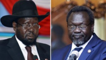 Le président sud-soudanais Salva Kiir (à gauche) et son opposant Riek Machar (à droite) arriveront-ils à signer un accord ouvrant la voie à une transition de deux ans et demi?