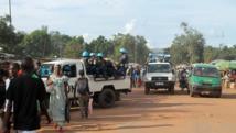 Patrouille de Casques bleus dans un quartier de Bangui. AFP/STRINGER