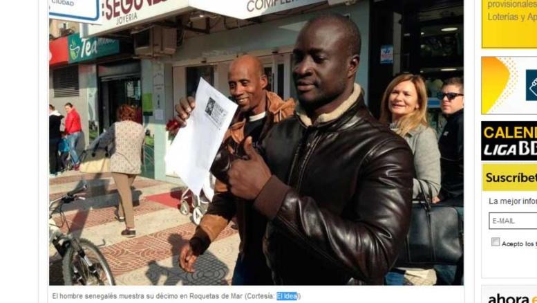"""""""Loterie de Noël"""" espagnole: Un migrant sénégalais gagne plus de 262 millions FCFA"""