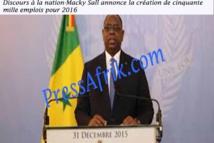 Discours à la nation-Macky Sall annonce la création de cinquante mille emplois pour 2016