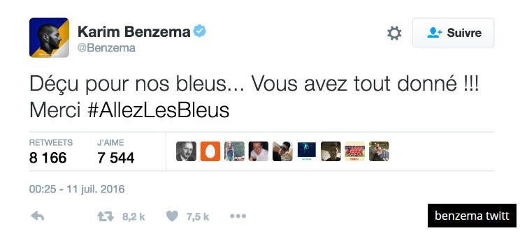 """Euro 2016: Benzema """"déçu"""" pour les Bleus"""