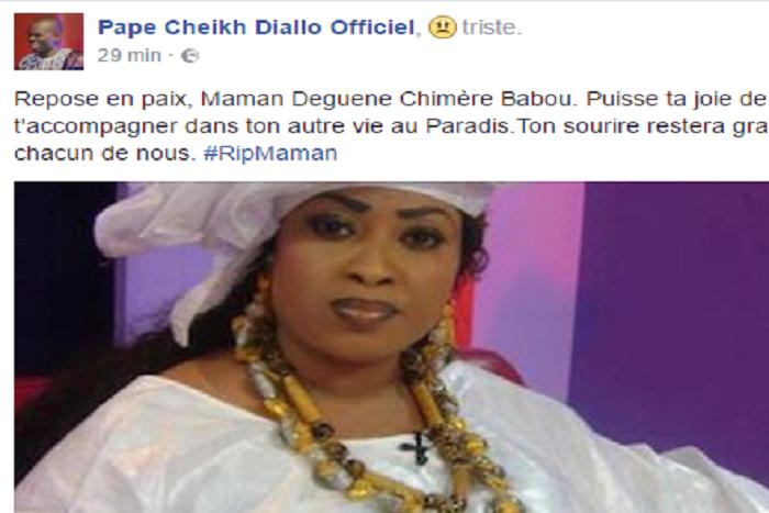 Le très touchant  message de Pape Cheikh Diallo à sa défunte « Maman Déguéne Chimére Diallo »