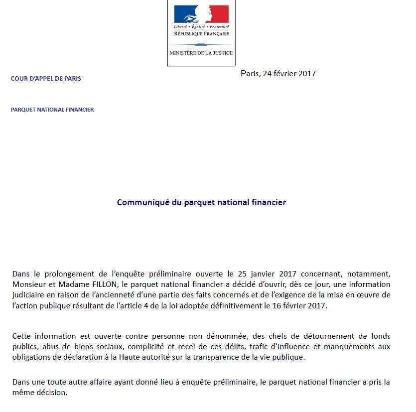 Affaire Fillon: le parquet national financier ouvre une information judiciaire