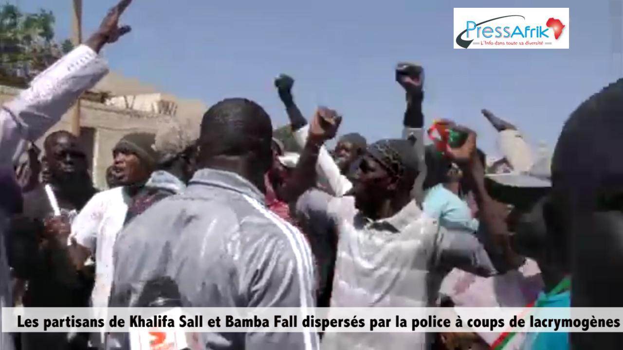 Images et Vidéo : Les partisans de Khalifa Sall et Bamba Fall dispersés par la police à coups de lacrymogènes
