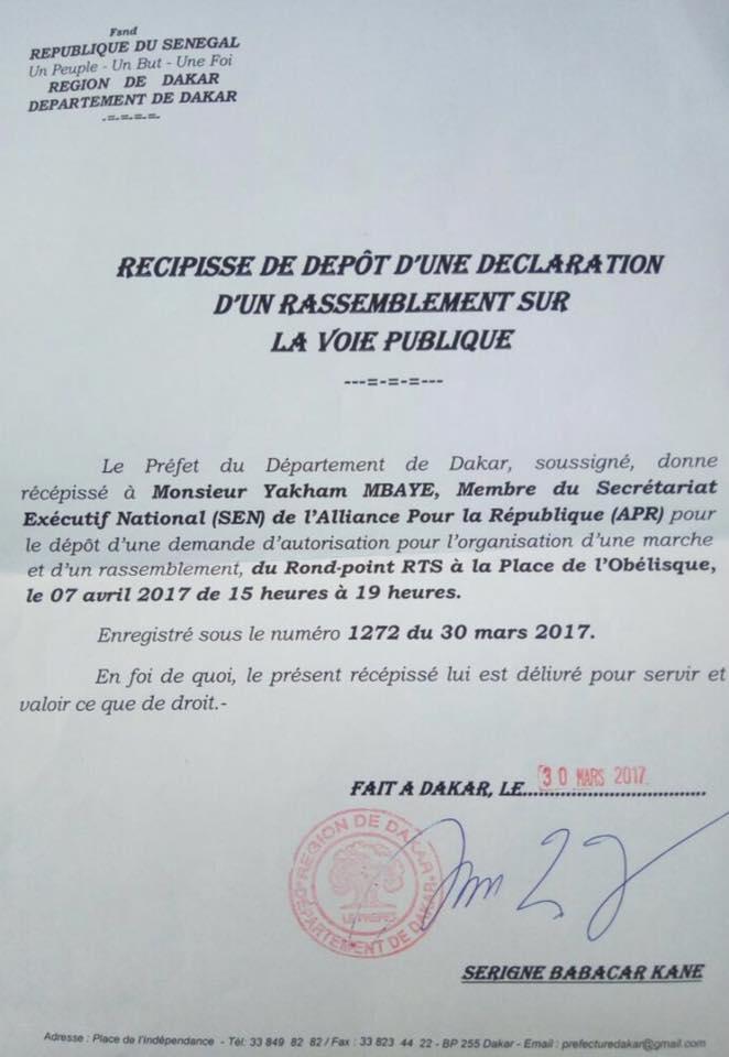"""Rassemblement 7 avril: le Préfet de Dakar donne """"récépissé"""" à Yakham Mbaye"""