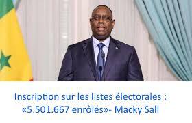 Inscription sur les listes électorales : «5.501.667 enrôlés», (président)