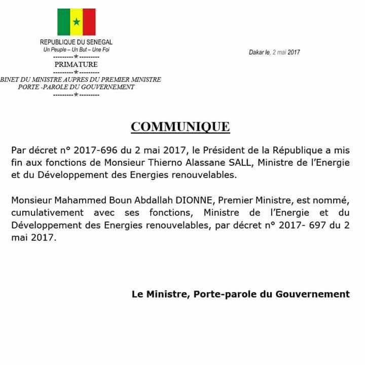 Voici le décret portant limogeage du ministre de l'Energie Thierno Alassane Sall