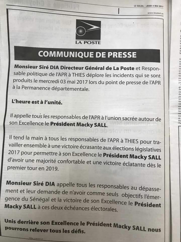 Après son communiqué controversé : le syndicat des Cadres de la fonction publique réclame le limogeage du DG de la Poste Ciré Dia