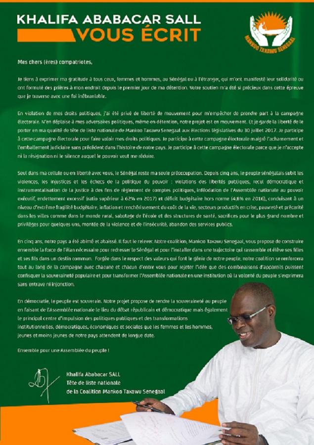 Khalifa Sall parle : « Le Sénégal reste ma seule préoccupation… »