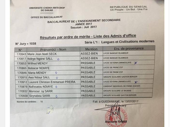 Bac 2017: catastrophe au Lycée Seydina Limamoulaye - 10 admis d'office en L'1