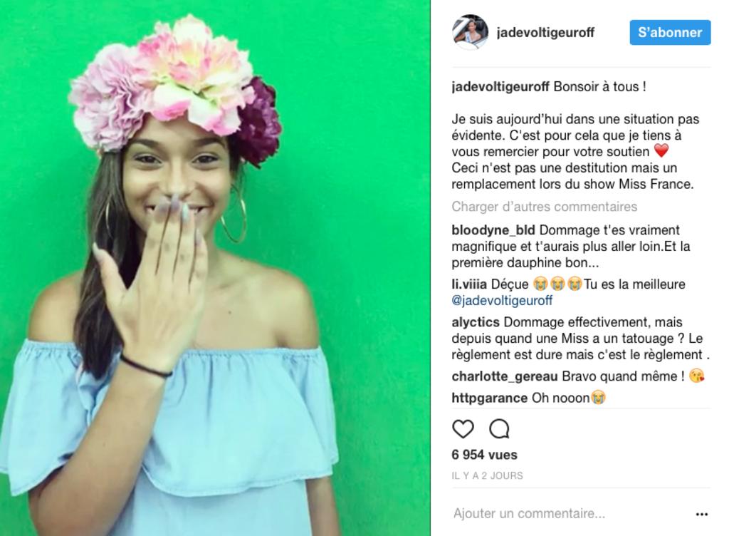 Miss Martinique réagit après avoir été disqualifiée du concours Miss France à cause de son tatouage