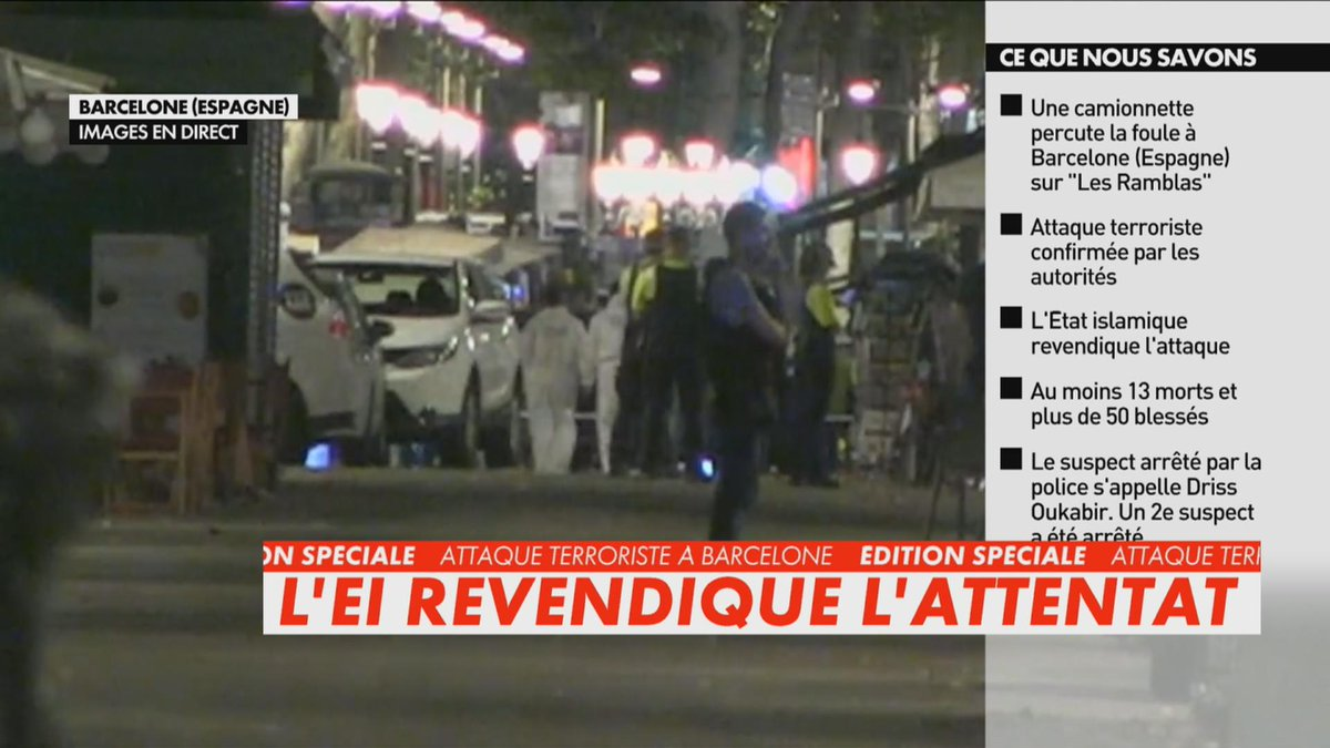 Urgent - L'attentat de Barcelone revendiqué par l'Etat islamique